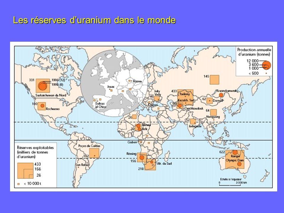 Les réserves duranium dans le monde