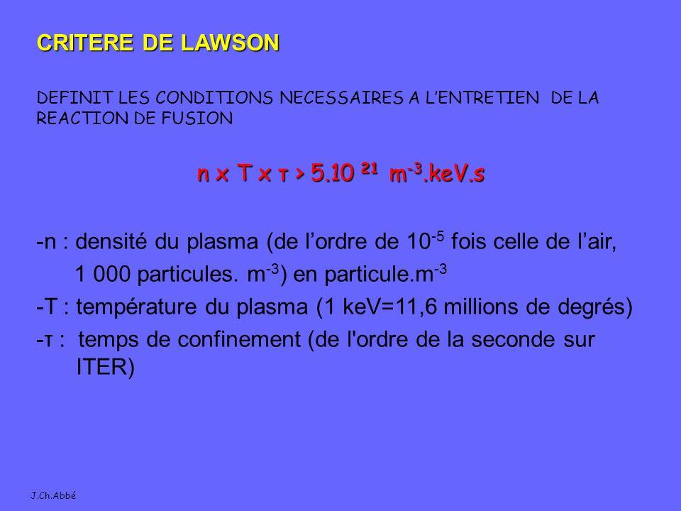 J.Ch.Abbé CRITERE DE LAWSON DEFINIT LES CONDITIONS NECESSAIRES A LENTRETIEN DE LA REACTION DE FUSION n x T x τ > 5.10 21 m -3.keV.s -n : densité du plasma (de lordre de 10 -5 fois celle de lair, 1 000 particules.