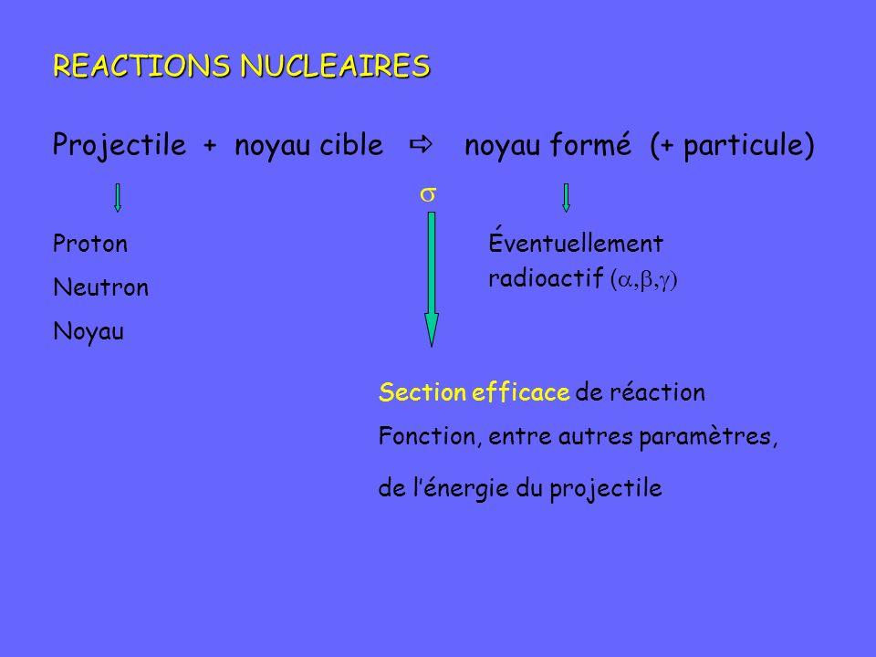 REACTIONS NUCLEAIRES Projectile + noyau cible noyau formé (+ particule) Proton Neutron Noyau Éventuellement radioactif ( Section efficace de réaction