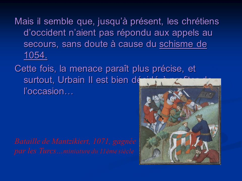 3ème partie: Appel à la guerre sainte Cest pourquoi, Urbain II propose aux membres du concile de partir « au secours des Chrétiens », à Jérusalem(?), en Orient en tout cas, par terre ou par mer.