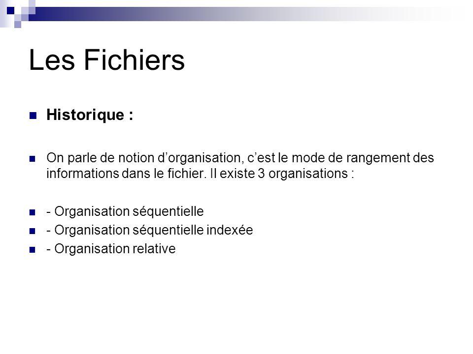 Les Fichiers Historique : On parle de notion dorganisation, cest le mode de rangement des informations dans le fichier. Il existe 3 organisations : -