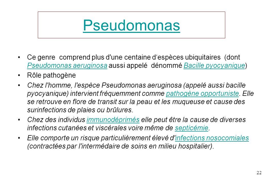 Pseudomonas Ce genre comprend plus d'une centaine despèces ubiquitaires (dont Pseudomonas aeruginosa aussi appelé dénommé Bacille pyocyanique) Pseudom