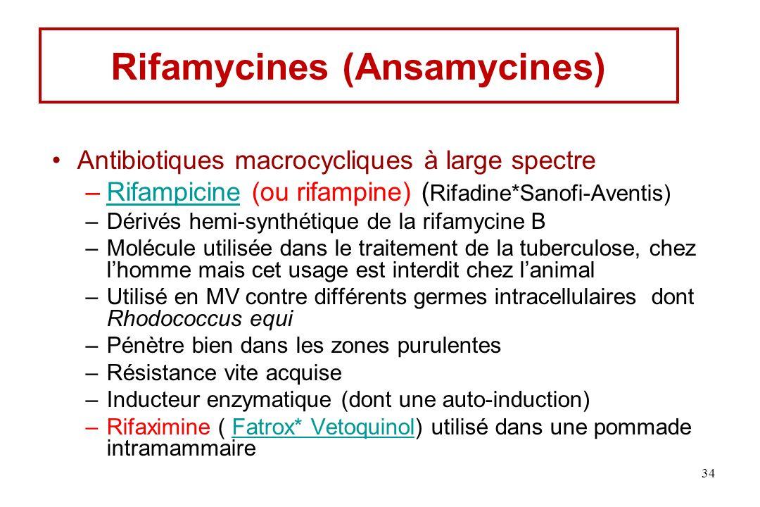 Rifamycines (Ansamycines) Antibiotiques macrocycliques à large spectre –Rifampicine (ou rifampine) ( Rifadine*Sanofi-Aventis)Rifampicine –Dérivés hemi