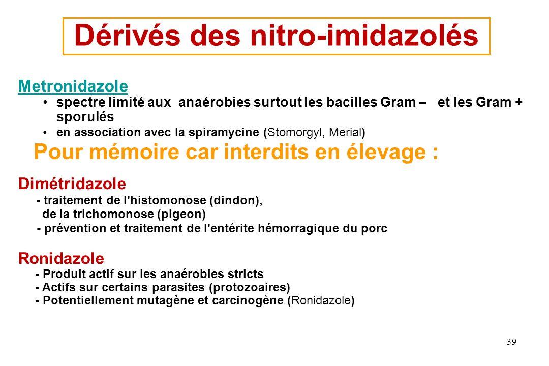 Dérivés des nitro-imidazolés Metronidazole spectre limité aux anaérobies surtout les bacilles Gram – et les Gram + sporulés en association avec la spi