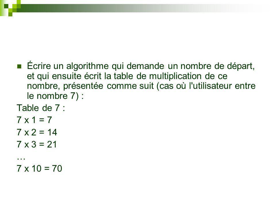 Debut Variables N, i : Entier Saisir Entrez un nombre : ; N Ecrire La table de multiplication de ce nombre est : Pour i = 1 à 10 Afficher N;x;i; = ; N*i Fin Pour Fin