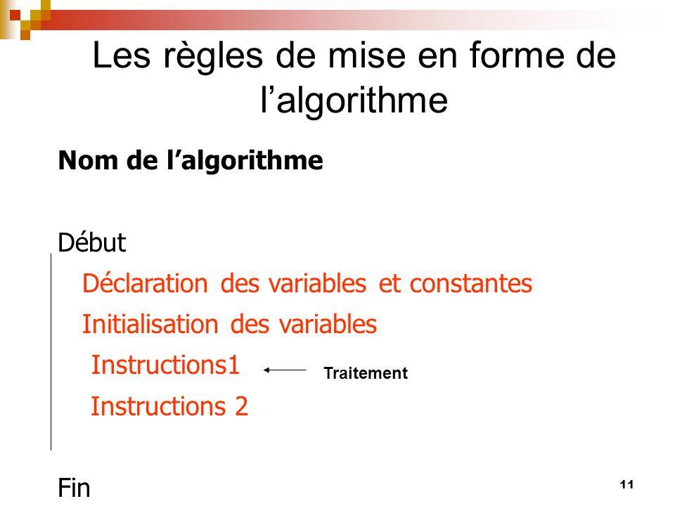 11 Les règles de mise en forme de lalgorithme Nom de lalgorithme Début Déclaration des variables et constantes Initialisation des variables Instructio