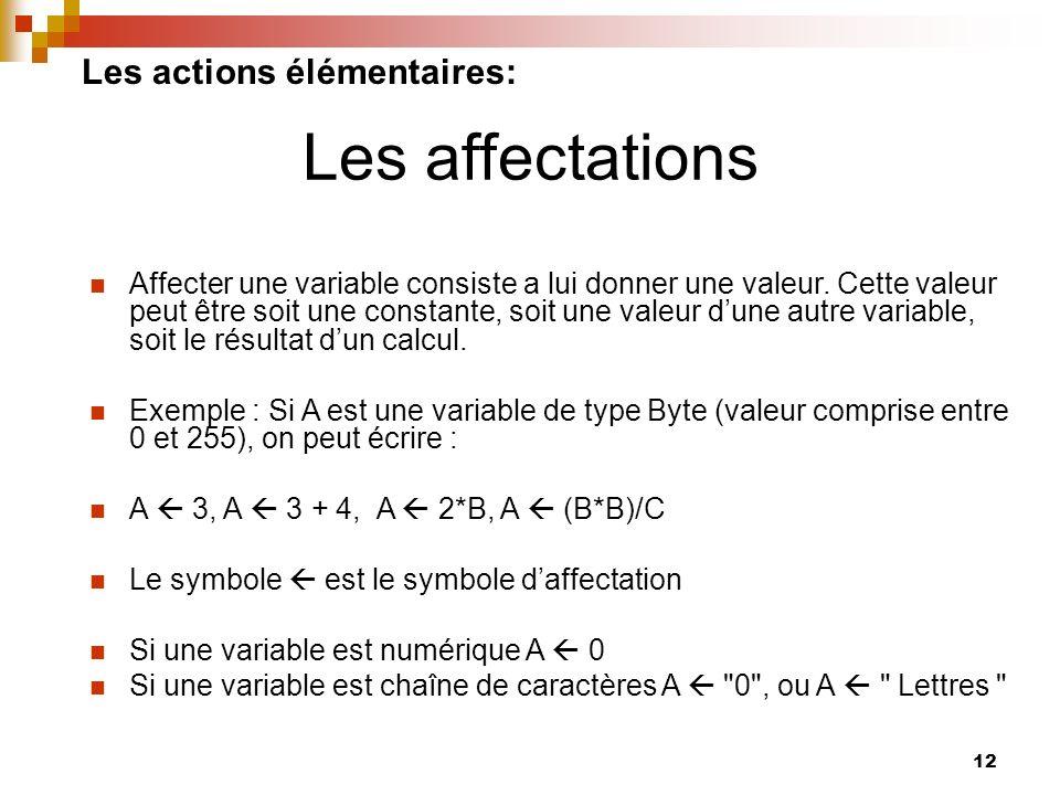 12 Les actions élémentaires: Affecter une variable consiste a lui donner une valeur. Cette valeur peut être soit une constante, soit une valeur dune a