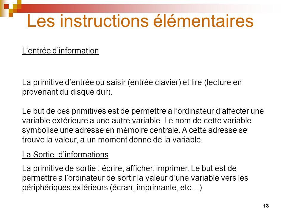 13 Les instructions élémentaires La primitive dentrée ou saisir (entrée clavier) et lire (lecture en provenant du disque dur). Le but de ces primitive