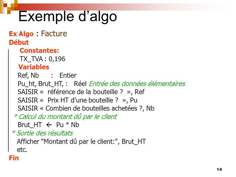 14 Exemple dalgo Ex Algo : Facture Début Constantes: TX_TVA : 0,196 Variables Ref, Nb : Entier Pu_ht, Brut_HT, : Réel Entrée des données élémentaires