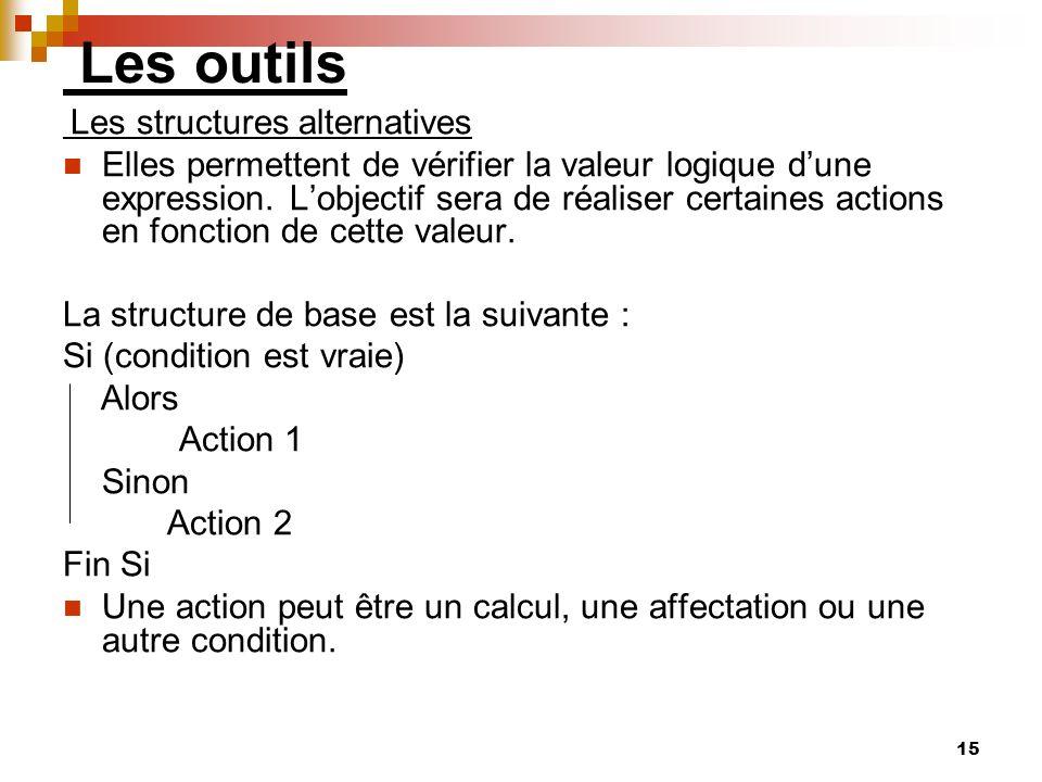 15 Les outils Les structures alternatives Elles permettent de vérifier la valeur logique dune expression. Lobjectif sera de réaliser certaines actions