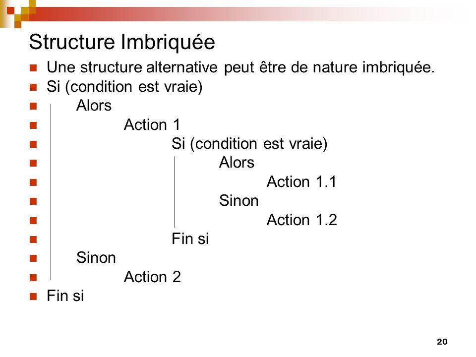 20 Structure Imbriquée Une structure alternative peut être de nature imbriquée. Si (condition est vraie) Alors Action 1 Si (condition est vraie) Alors