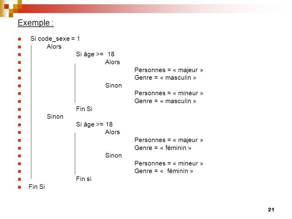 21 Exemple : Si code_sexe = 1 Alors Si âge >= 18 Alors Personnes = « majeur » Genre = « masculin » Sinon Personnes = « mineur » Genre = « masculin » F