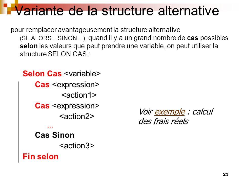 23 Variante de la structure alternative pour remplacer avantageusement la structure alternative (SI..ALORS…SINON…), quand il y a un grand nombre de ca