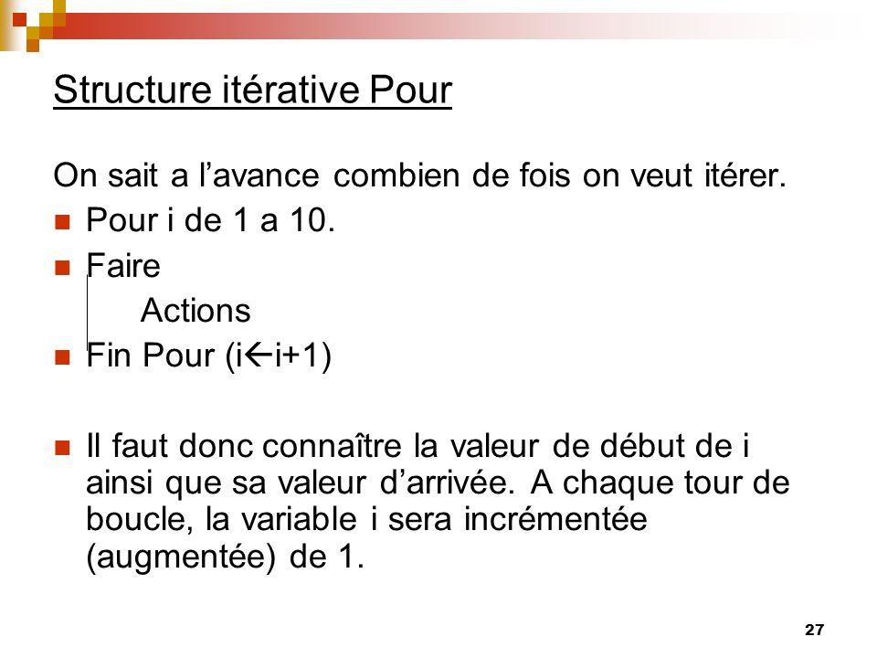 27 Structure itérative Pour On sait a lavance combien de fois on veut itérer. Pour i de 1 a 10. Faire Actions Fin Pour (i i+1) Il faut donc connaître