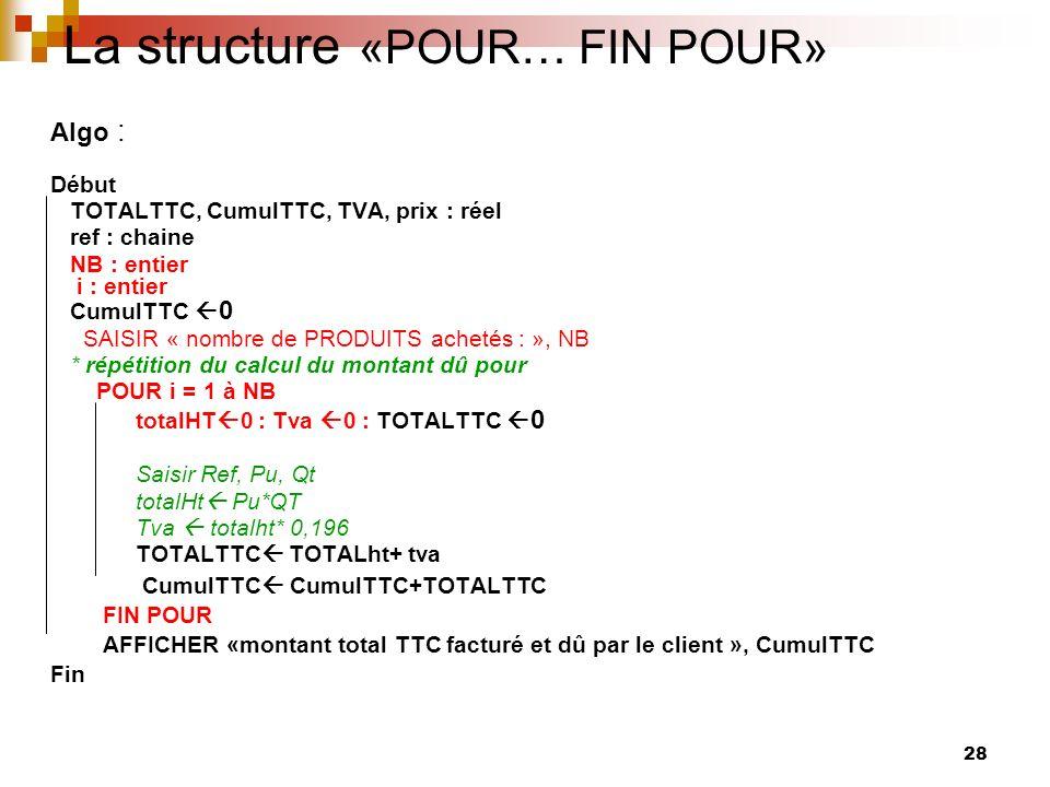 28 La structure «POUR… FIN POUR» Algo : Début TOTALTTC, CumulTTC, TVA, prix : réel ref : chaine NB : entier i : entier CumulTTC 0 SAISIR « nombre de P