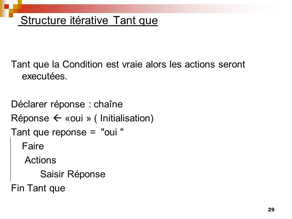 29 Structure itérative Tant que Tant que la Condition est vraie alors les actions seront executées. Déclarer réponse : chaîne Réponse «oui » ( Initial