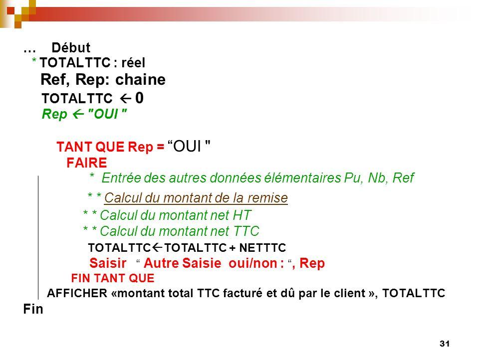 31 … Début * TOTALTTC : réel Ref, Rep: chaine TOTALTTC 0 Rep