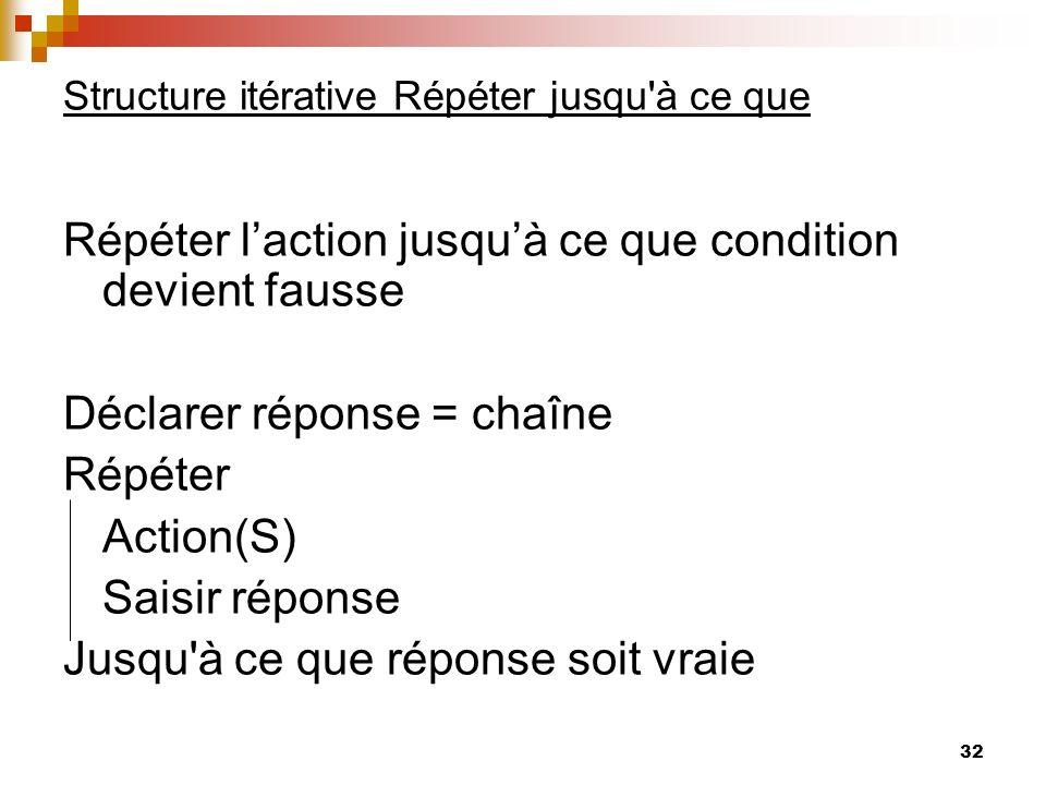 32 Structure itérative Répéter jusqu'à ce que Répéter laction jusquà ce que condition devient fausse Déclarer réponse = chaîne Répéter Action(S) Saisi