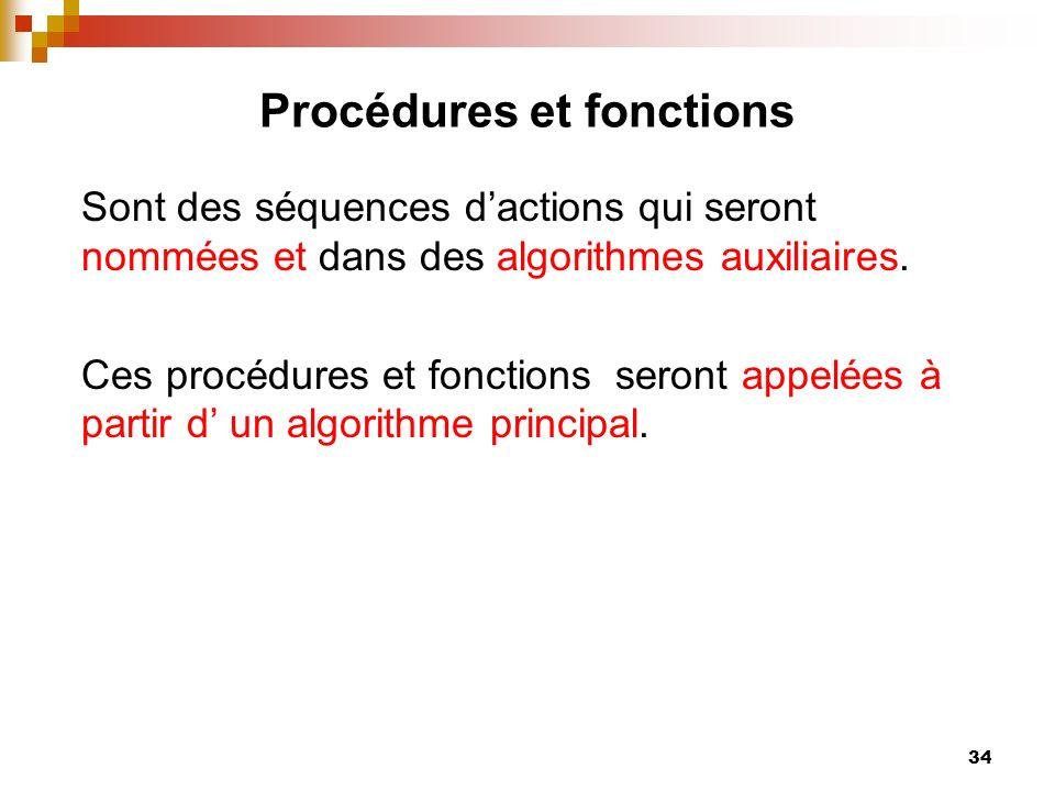 34 Procédures et fonctions Sont des séquences dactions qui seront nommées et dans des algorithmes auxiliaires. Ces procédures et fonctions seront appe