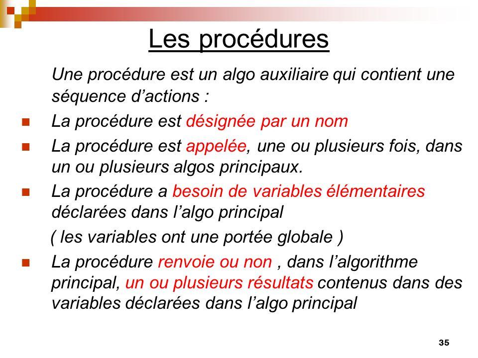 35 Les procédures Une procédure est un algo auxiliaire qui contient une séquence dactions : La procédure est désignée par un nom La procédure est appe