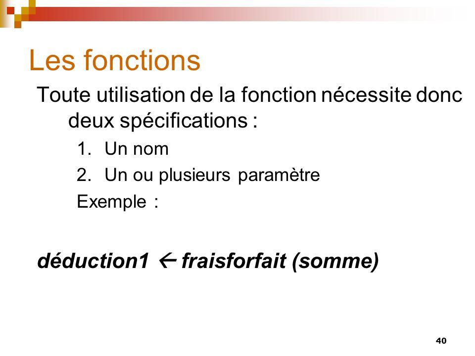 40 Les fonctions Toute utilisation de la fonction nécessite donc deux spécifications : 1.Un nom 2.Un ou plusieurs paramètre Exemple : déduction1 frais