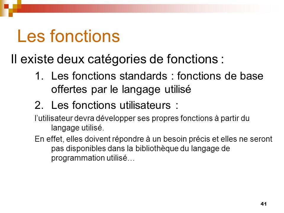 41 Les fonctions Il existe deux catégories de fonctions : 1.Les fonctions standards : fonctions de base offertes par le langage utilisé 2.Les fonction