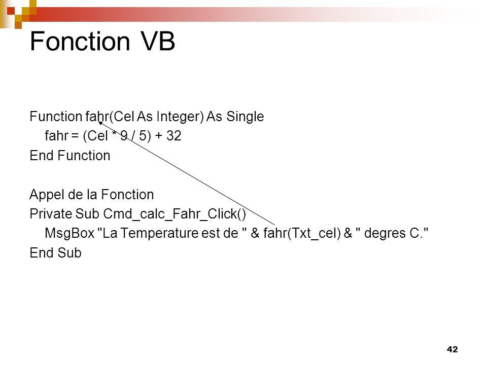 42 Fonction VB Function fahr(Cel As Integer) As Single fahr = (Cel * 9 / 5) + 32 End Function Appel de la Fonction Private Sub Cmd_calc_Fahr_Click() M