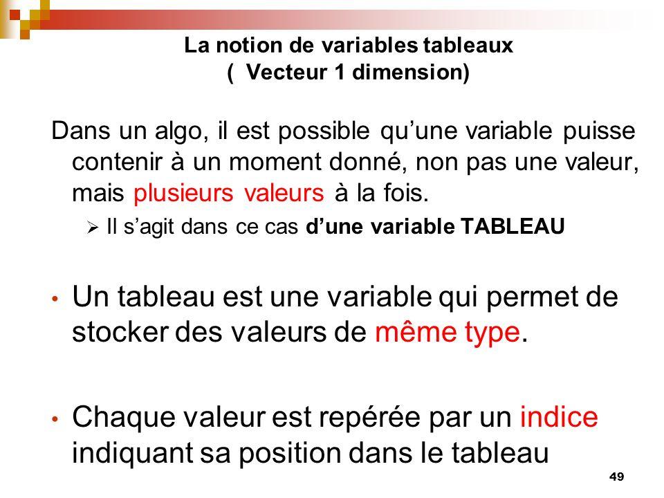 49 La notion de variables tableaux ( Vecteur 1 dimension) Dans un algo, il est possible quune variable puisse contenir à un moment donné, non pas une