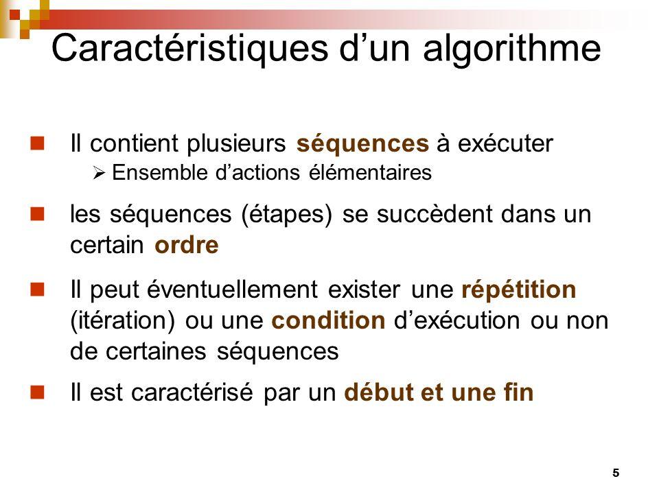 5 Caractéristiques dun algorithme Il contient plusieurs séquences à exécuter Ensemble dactions élémentaires les séquences (étapes) se succèdent dans u