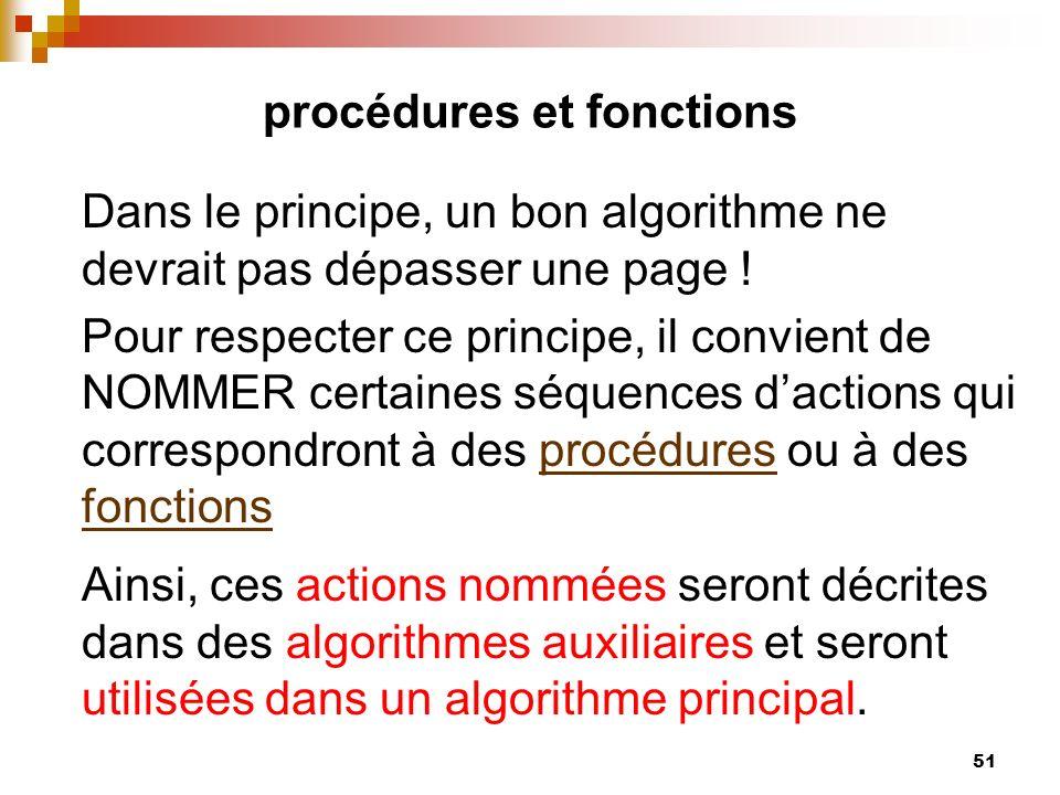 51 procédures et fonctions Dans le principe, un bon algorithme ne devrait pas dépasser une page ! Pour respecter ce principe, il convient de NOMMER ce