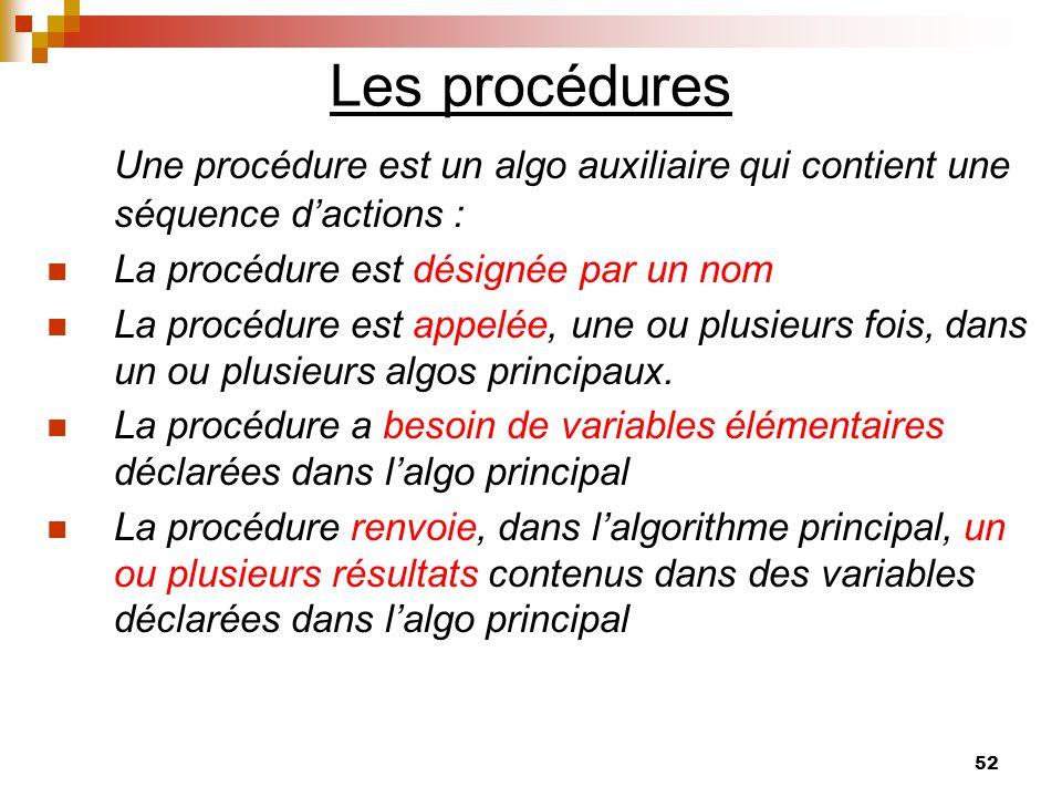 52 Les procédures Une procédure est un algo auxiliaire qui contient une séquence dactions : La procédure est désignée par un nom La procédure est appe