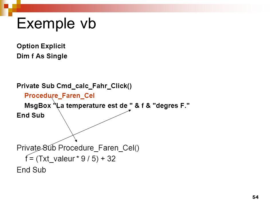54 Exemple vb Option Explicit Dim f As Single Private Sub Cmd_calc_Fahr_Click() Procedure_Faren_Cel MsgBox