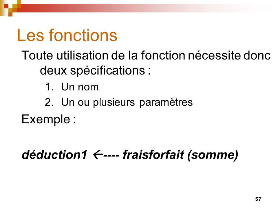 57 Les fonctions Toute utilisation de la fonction nécessite donc deux spécifications : 1.Un nom 2.Un ou plusieurs paramètres Exemple : déduction1 ----