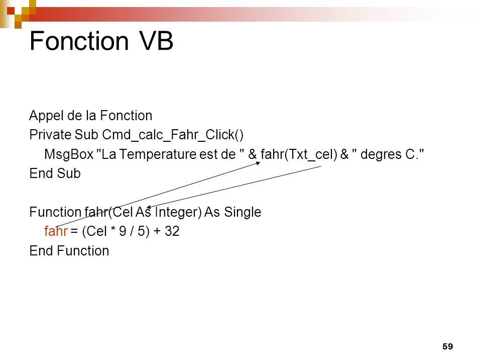 59 Fonction VB Appel de la Fonction Private Sub Cmd_calc_Fahr_Click() MsgBox