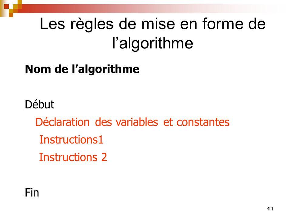 11 Les règles de mise en forme de lalgorithme Nom de lalgorithme Début Déclaration des variables et constantes Instructions1 Instructions 2 Fin