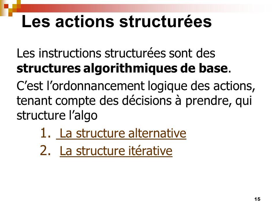 15 Les actions structurées Les instructions structurées sont des structures algorithmiques de base. Cest lordonnancement logique des actions, tenant c