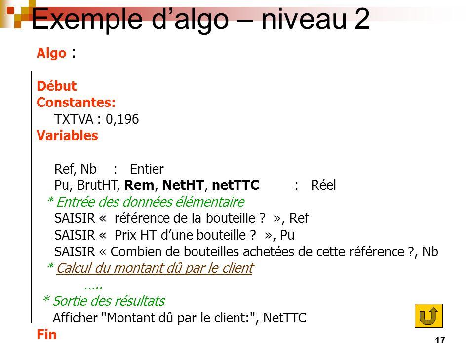 17 Exemple dalgo – niveau 2 Algo : Début Constantes: TXTVA : 0,196 Variables Ref, Nb : Entier Pu, BrutHT, Rem, NetHT, netTTC : Réel * Entrée des donné