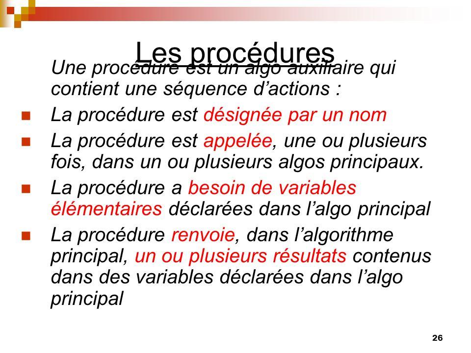 26 Les procédures Une procédure est un algo auxiliaire qui contient une séquence dactions : La procédure est désignée par un nom La procédure est appe
