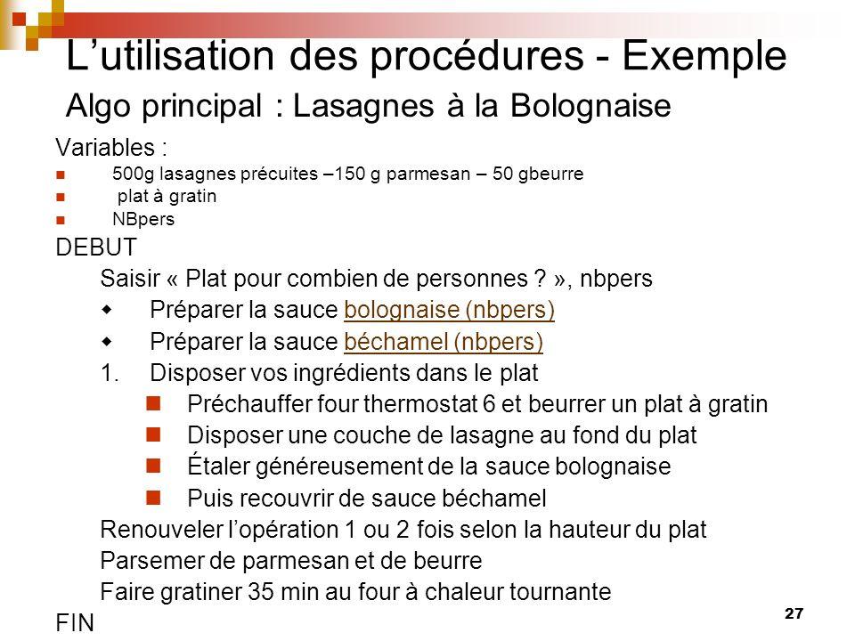 27 Lutilisation des procédures - Exemple Algo principal : Lasagnes à la Bolognaise Variables : 500g lasagnes précuites –150 g parmesan – 50 gbeurre pl