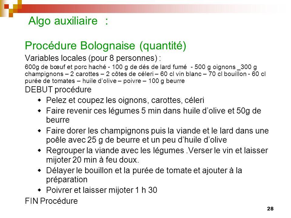 28 Algo auxiliaire : Procédure Bolognaise (quantité) Variables locales (pour 8 personnes) : 600g de bœuf et porc haché - 100 g de dés de lard fumé - 5