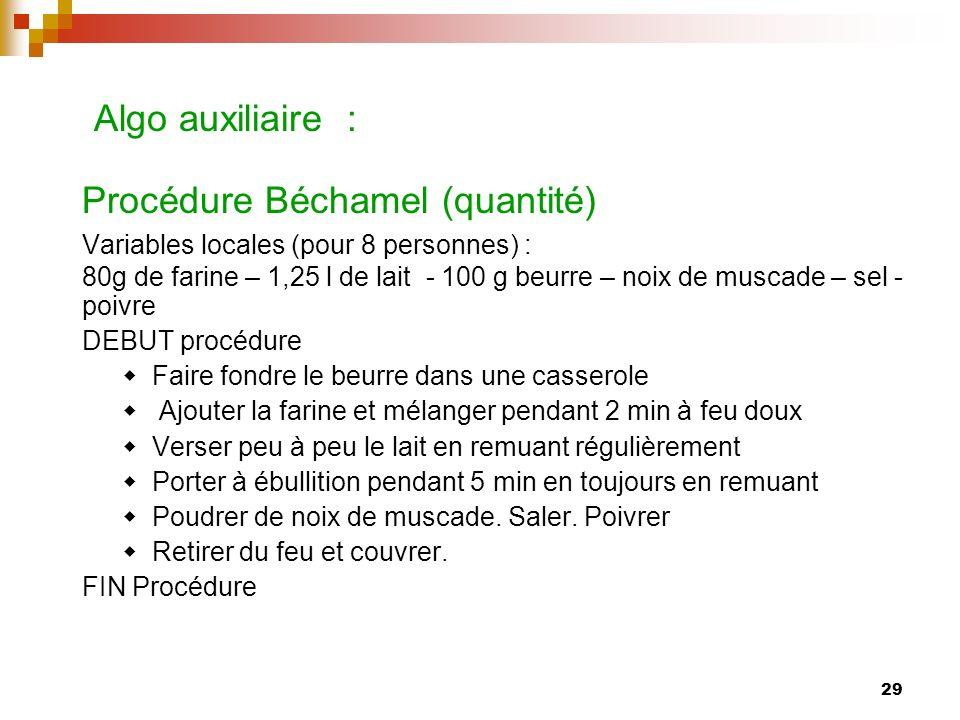 29 Algo auxiliaire : Procédure Béchamel (quantité) Variables locales (pour 8 personnes) : 80g de farine – 1,25 l de lait - 100 g beurre – noix de musc