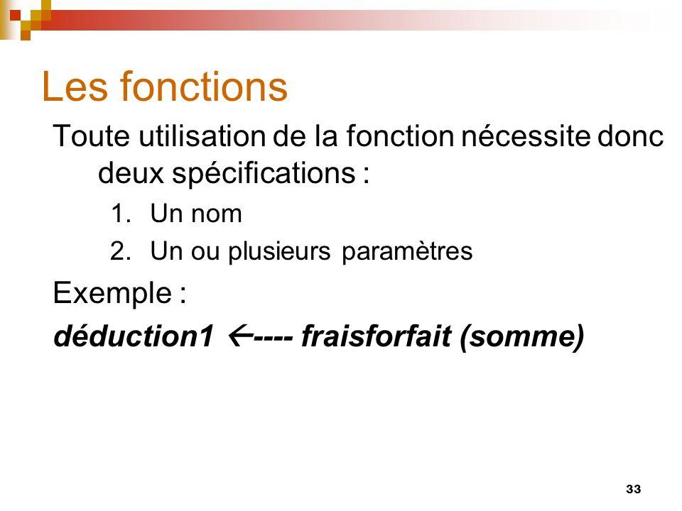 33 Les fonctions Toute utilisation de la fonction nécessite donc deux spécifications : 1.Un nom 2.Un ou plusieurs paramètres Exemple : déduction1 ----