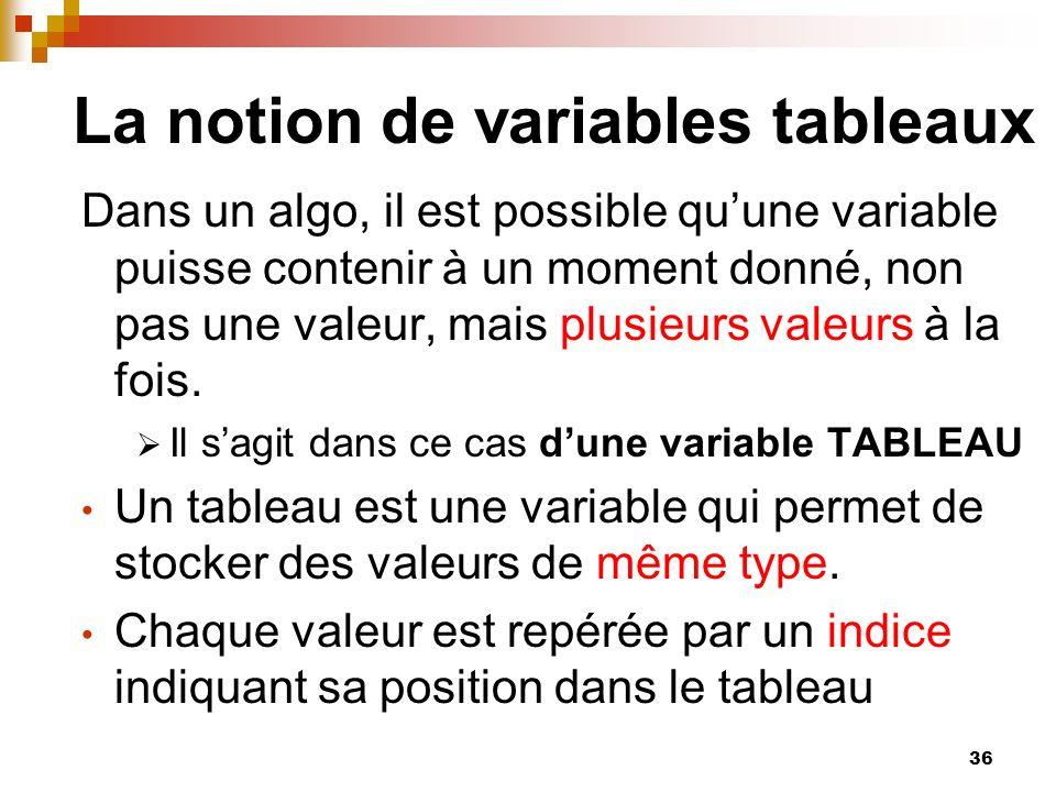 36 La notion de variables tableaux Dans un algo, il est possible quune variable puisse contenir à un moment donné, non pas une valeur, mais plusieurs