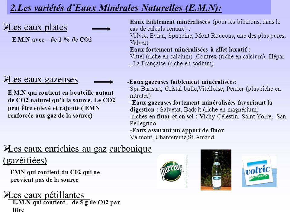 -Eaux gazeuses faiblement minéralisées: Spa Barisart, Cristal bulle,Vitelloise, Perrier (plus riche en nitrates) -Eaux gazeuses fortement minéralisées