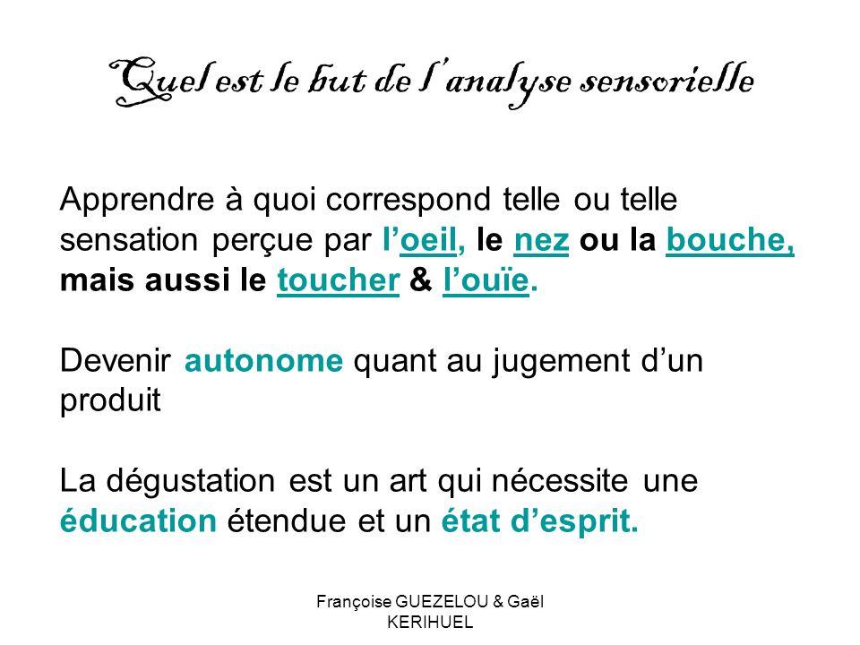 Françoise GUEZELOU & Gaël KERIHUEL Quel est le but de lanalyse sensorielle Apprendre à quoi correspond telle ou telle sensation perçue par loeil, le n