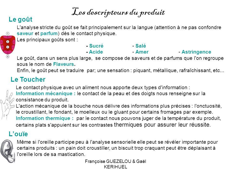 Françoise GUEZELOU & Gaël KERIHUEL Le goût Les descripteurs du produit L'analyse stricte du goût se fait principalement sur la langue (attention à ne