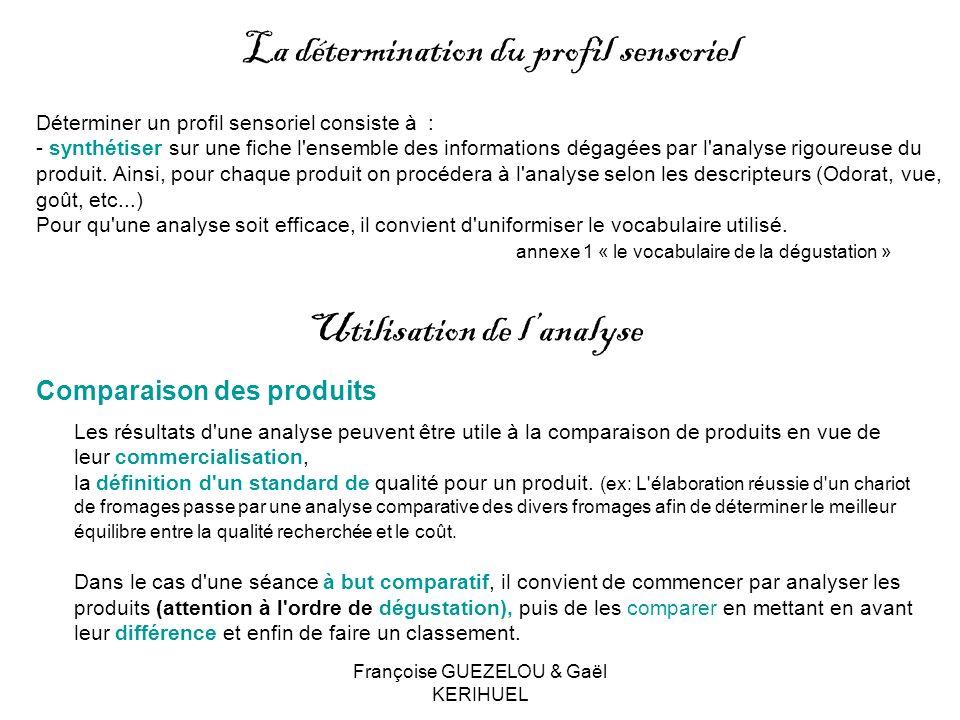 Françoise GUEZELOU & Gaël KERIHUEL Déterminer un profil sensoriel consiste à : - synthétiser sur une fiche l'ensemble des informations dégagées par l'