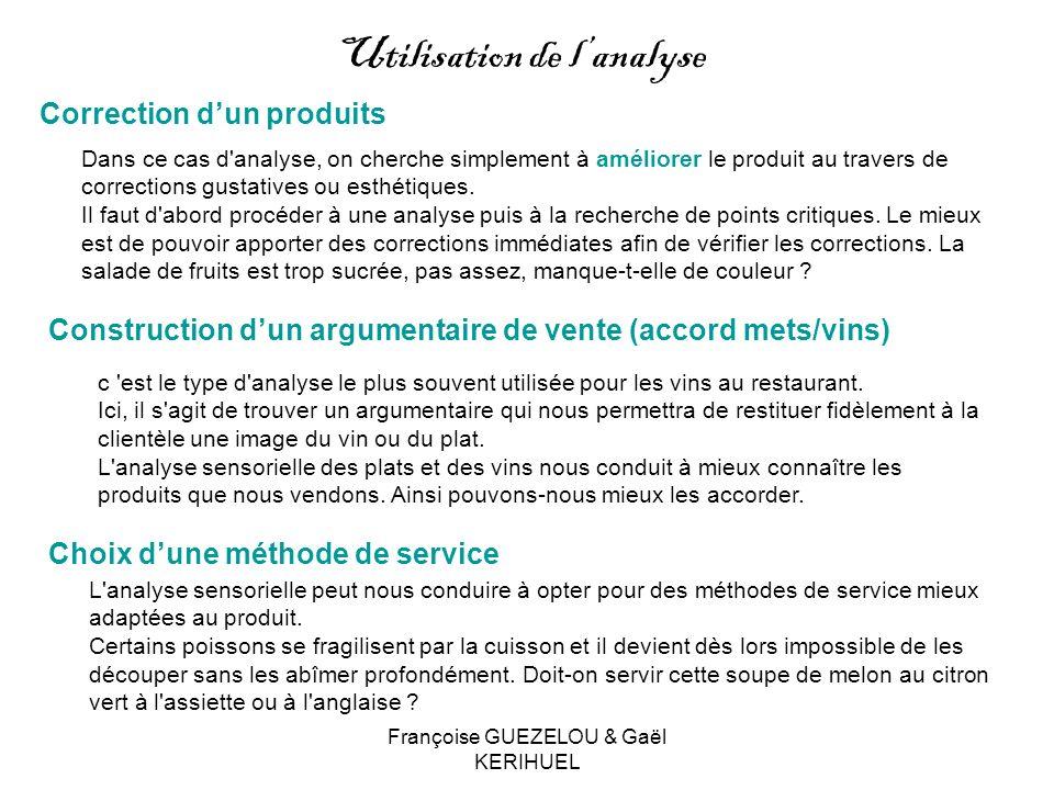 Françoise GUEZELOU & Gaël KERIHUEL Construction dun argumentaire de vente (accord mets/vins) c 'est le type d'analyse le plus souvent utilisée pour le