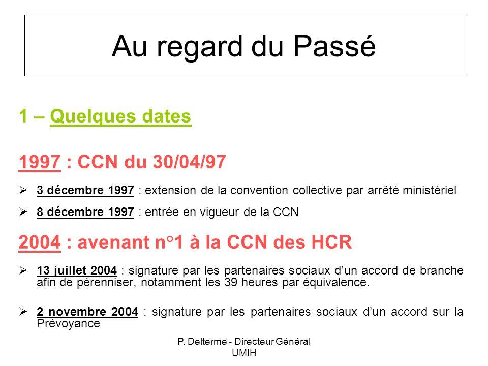 P. Delterme - Directeur Général UMIH Au regard du Passé 1 – Quelques dates 1997 : CCN du 30/04/97 3 décembre 1997 : extension de la convention collect