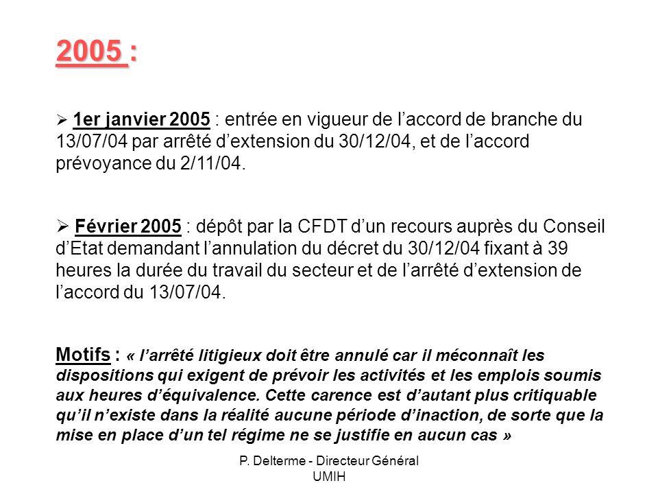 P. Delterme - Directeur Général UMIH 2005 : 1er janvier 2005 : entrée en vigueur de laccord de branche du 13/07/04 par arrêté dextension du 30/12/04,
